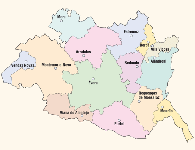 mapa do alentejo central portugal